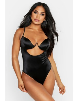 Satin Cut Out Detail Body by Boohoo