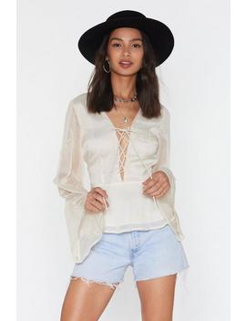 Lace Up Embroidered Blouse by Nasty Gal