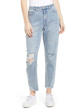 Embroidered Ripped Mom Jeans by Tinsel