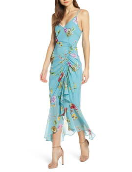 Floral Ruched Front Maxi Dress by Astr The Label