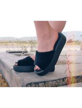 Black Fuzzy Slide Viva Mondo Sandal by Tuk