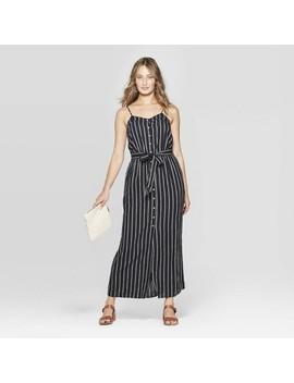 Women's Sleeveless V Neck Button Front Striped Maxi Dress   Universal Thread Black/White by Neck Button Front Striped Maxi Dress