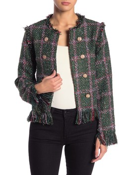 Multicolor Fringe Trim Tweed Jacket by Flying Tomato