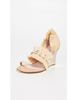 Raffia Fringe Wedge Sandals by Leandra Medine