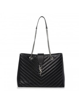 Saint Laurent Lambskin Matelasse Studded Chevron Monogram Shopping Bag Black by Yves Saint Laurent