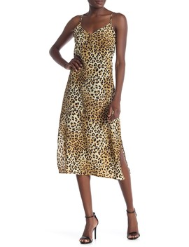 Animal Print Satin Slip Dress by Know One Cares