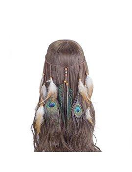 Hippie Feather Headband Boho Headdress   Awaytr Feather Crown Festival Headband For Woman Indian Hair Accessories by Awaytr