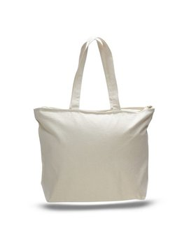 Heavy Canvas Tote Bag With Zip Top by Tbf