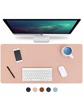 "Knodel Desk Pad, Office Desk Mat, 31.5"" X 15.7"" Pu Leather Desk Blotter, Laptop Desk Mat, Waterproof Desk Writing Pad For Office And Home, Dual Sided (Pink/Sliver) by Knodel"