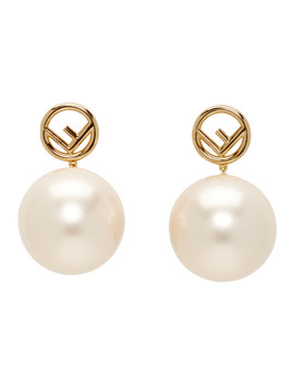 Gold Pearl 'f Is Fendi' Earrings by Fendi