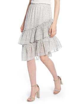 Tiered Asymmetrical Ruffle Midi Skirt by 1.State