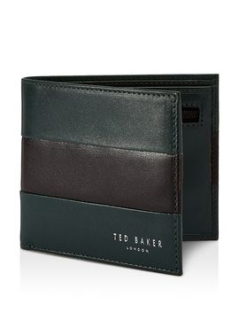 Stozip Contrast Leather Bifold Wallet With Zip Coin Pocket by Ted Baker