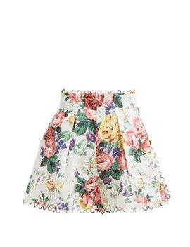 Allia High Rise Floral Print Linen Shorts by Zimmermann