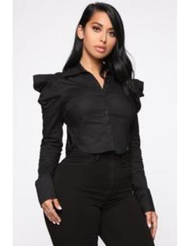 Try Me Puff Sleeve Shirt   Black by Fashion Nova