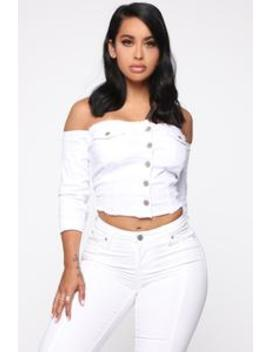 Just A Tease Denim Top   White by Fashion Nova