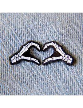 Skeleton Hands Heart Sign Enamel Pin Set Of 2   Punk Rock Horror Wedding Gift Anniversary Goth Couples Love Romantic Spooky Halloween Pins by Etsy