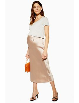 **Maternity Satin Bias Midi Skirt by Topshop