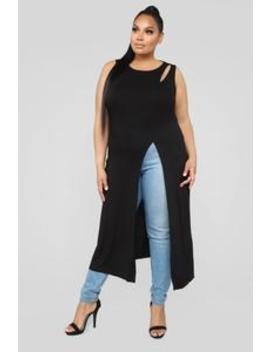 Slitty Ways Maxi Top   Black by Fashion Nova