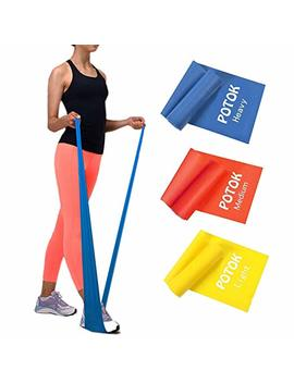 Potok Resistance Band Set, 3 Pack Latex Elastic Bands For Upper & Lower Body & Core Exercise, Physical Therapy, Lower Pilates, At Home Workouts, And Rehab, Yellow & Red & Blue by Potok