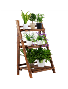 Topeakmart 3 Tier Folding Wooden Plant Stand Wood Organizer Flower Pot Stand Plant Display Shelf Rack Ladder Garden Indoors Outdoors by Topeakmart