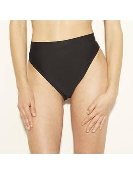Women's High Leg High Waist Cheeky Bikini Bottom   Shade & Shore Black by Shade & Shore Black