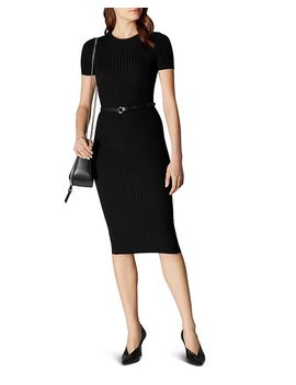 Belted Rib Knit Dress by Karen Millen