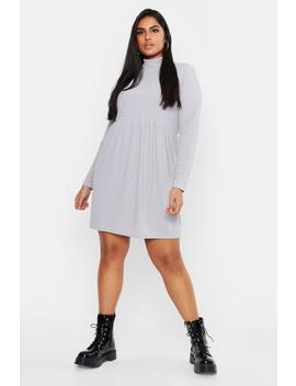 Plus Rib Turtle Neck Smock Dress by Boohoo