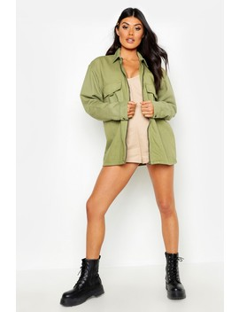 Zip Front Pocket Denim Jacket by Boohoo