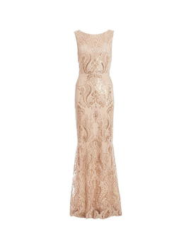 Quiz Champagne Sequin Embellished Maxi Dress by Quiz