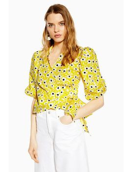 Yellow Floral Poplin Wrap Blouse by Topshop
