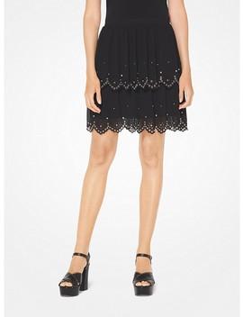 Grommeted Eyelet Georgette Skirt by Michael Michael Kors