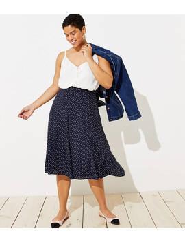 Loft Plus Dotted Godet Midi Skirt by Loft