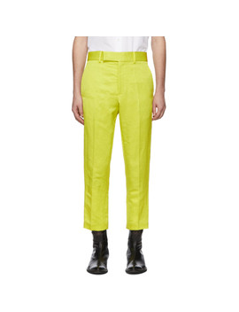 Yellow Linen Skinny Leg Trousers by Haider Ackermann