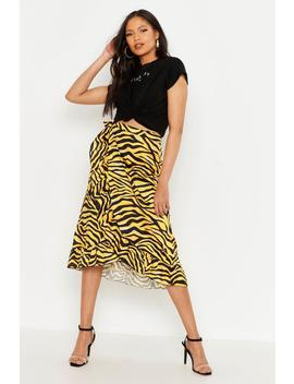 Tall Tiger Print Ruffle Wrap Skirt by Boohoo