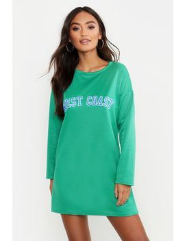 Petite West Coast Slogan Sweat Dress by Boohoo