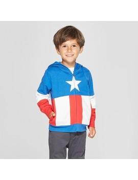 Toddler Boys' Marvel Captain America Hooded Sweatshirt   Red/White/Blue by Red/White/Blue