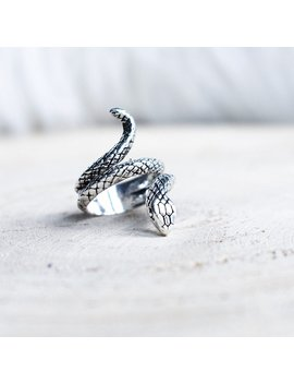 Silver Coated Snake Ring Serpent Rings Wrap Around Adjustable Boho Grunge Goth Jewellery Jewelry by Etsy