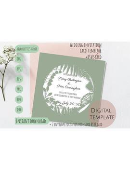 Set Wild Flower Rustic Square Wedding Invitation Rsvp Card Envelope Vector Silhouette Studio Svg Dxf Eps Paper Papercut Laser Cut Template by Etsy