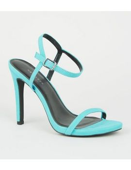 Turquoise Barely There Stiletto Sandals by New Look