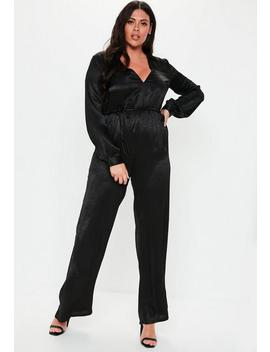 Plus Size Black Wide Leg Plunge Satin Jumpsuit by Missguided