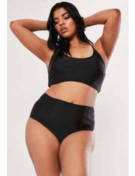 Plus Size Black Cross Back Scoop Neck Bikini Top by Missguided