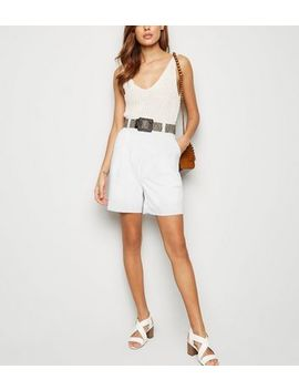 White Belted City Shorts by New Look