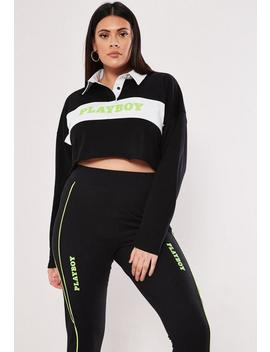 Playboy X Missguided Plus Size Black Cropped Slogan Rugby Shirt by Missguided