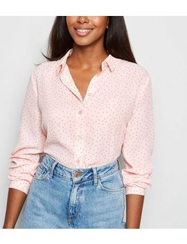 Pink Spot Print Long Sleeve Shirt by New Look