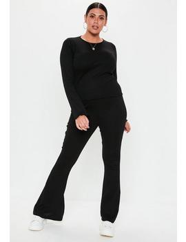 Plus Size Black Jersey Kick Trousers by Missguided