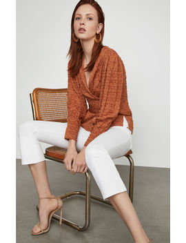 Pleated Shoulder Wrap Top by Bcbgmaxazria