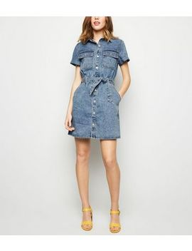 Pale Blue Acid Wash Utility Shirt Dress by New Look