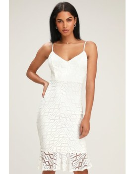 Dancing Slow White Lace Ruffled Bodycon Dress by Lulus