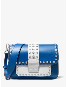 Sloan Editor Studded Two Tone Leather Shoulder Bag by Michael Michael Kors