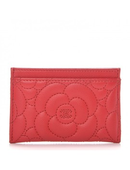 Chanel Caviar Camellia Quilted Card Holder Red by Chanel